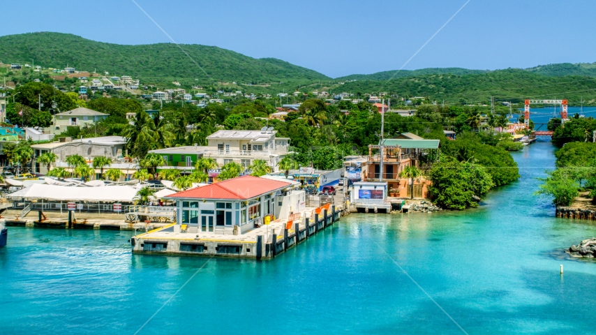The small oceanside island town of Culebra, Puerto Rico  Aerial Stock Photos | AX102_150.0000190F