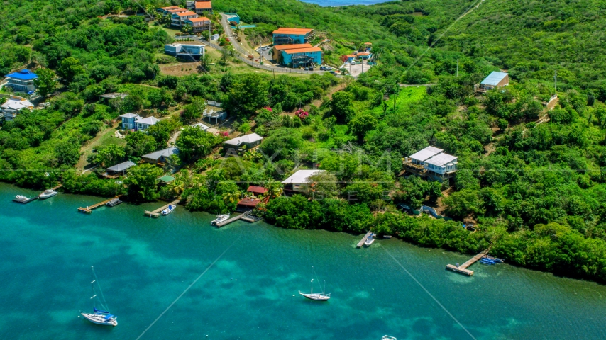 Caribbean homes with docks on the island of Culebra, Puerto Rico Aerial Stock Photos | AX102_156.0000164F