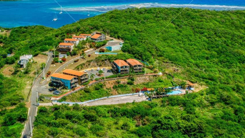 The Villas at Bahia Marina on the island of Culebra, Puerto Rico Aerial Stock Photos | AX102_158.0000000F