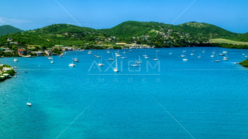 Sailboats in sapphire blue harbor near the coast, Culebra, Puerto Rico Aerial Stock Photos | AX102_160.0000269F