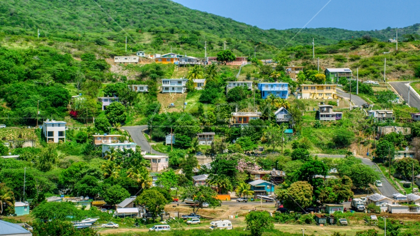 Residential neighborhoods on a hillside, Culebra, Puerto Rico  Aerial Stock Photo AX102_165.0000000F | Axiom Images