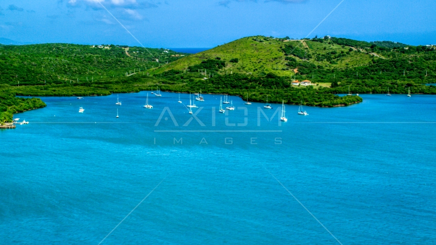 Sailboats anchored by a Caribbean island coast, Culebra, Puerto Rico Aerial Stock Photos | AX102_168.0000000F