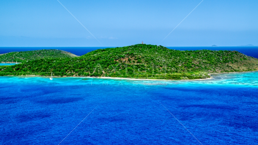 Sapphire blue waters and a small Caribbean island, Culebrita, Puerto Rico  Aerial Stock Photos | AX102_174.0000000F