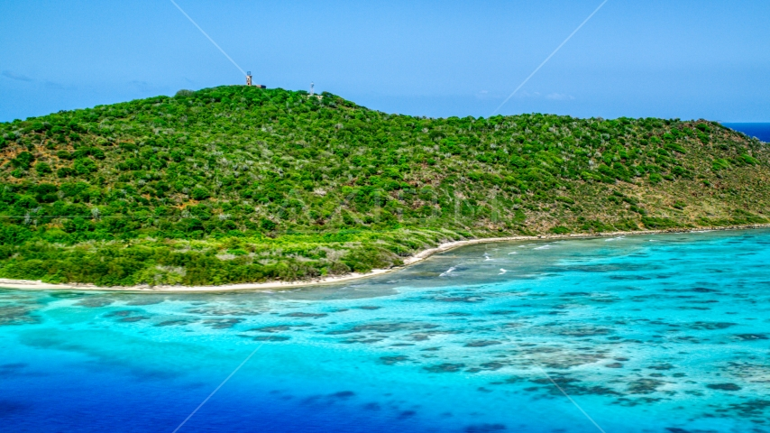 Sapphire blue waters and a Caribbean island shore, Culebrita, Puerto Rico  Aerial Stock Photos | AX102_174.0000288F