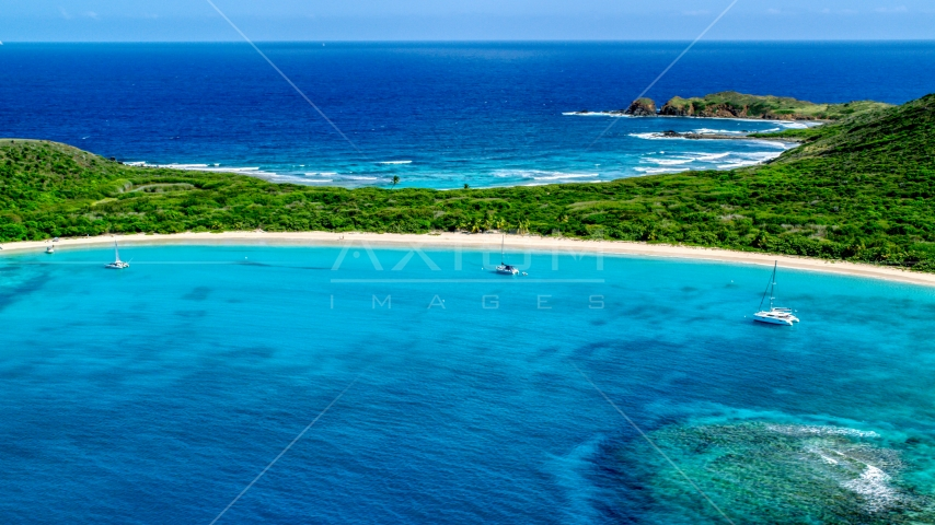 Catamarans anchored by a white sand Caribbean beach, Culebrita, Puerto Rico Aerial Stock Photos | AX102_183.0000131F