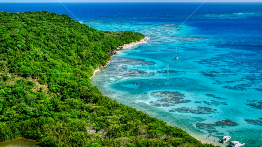 Sailboat and reefs by a tree filled island coast, Culebrita, Puerto Rico  Aerial Stock Photos | AX102_185.0000000F