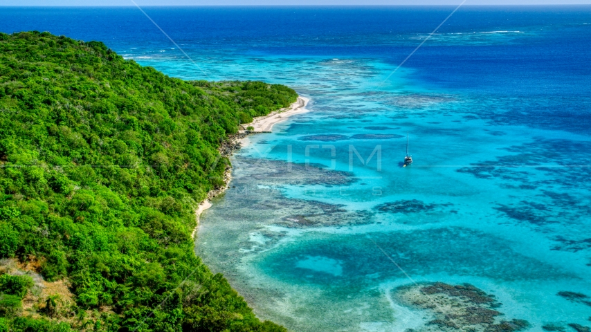 Sailboat anchored by reefs and a tree filled island coast, Culebrita, Puerto Rico  Aerial Stock Photos | AX102_185.0000123F