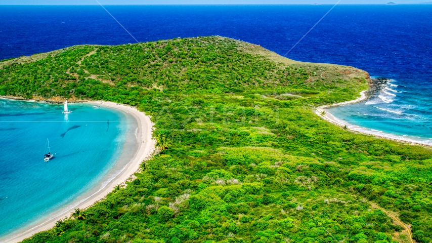 Turquoise waters and white sand Caribbean beaches, Culebrita, Puerto Rico  Aerial Stock Photos | AX102_186.0000183F