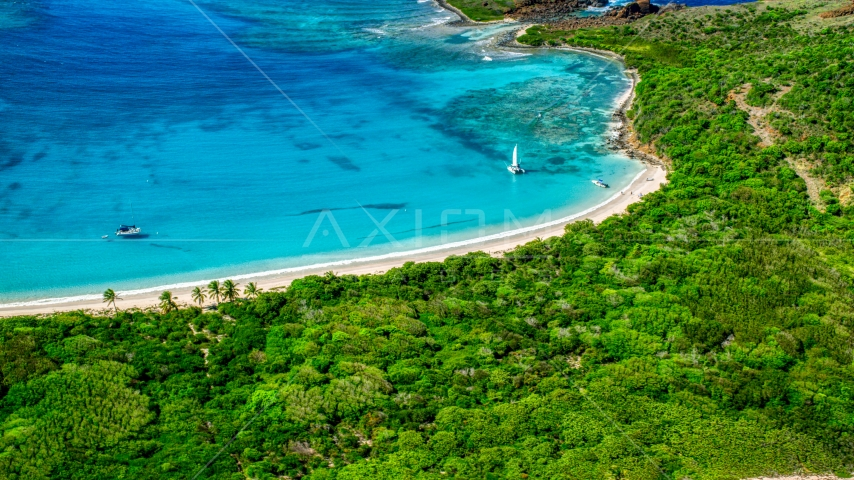 Catamarans by a tropical Caribbean island beach, Culebrita, Puerto Rico Aerial Stock Photos | AX102_187.0000283F