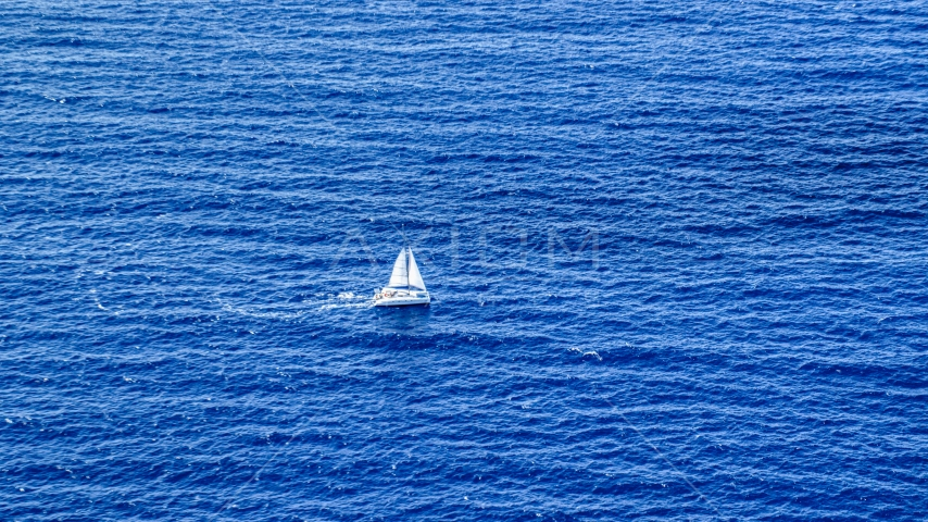 Catamaran sailing sapphire blue waters, Atlantic Ocean Aerial Stock Photos | AX102_193.0000158F