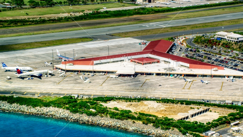 The main airport terminal at Cyril E King Airport, St. Thomas, US Virgin Islands Aerial Stock Photos | AX102_197.0000000F