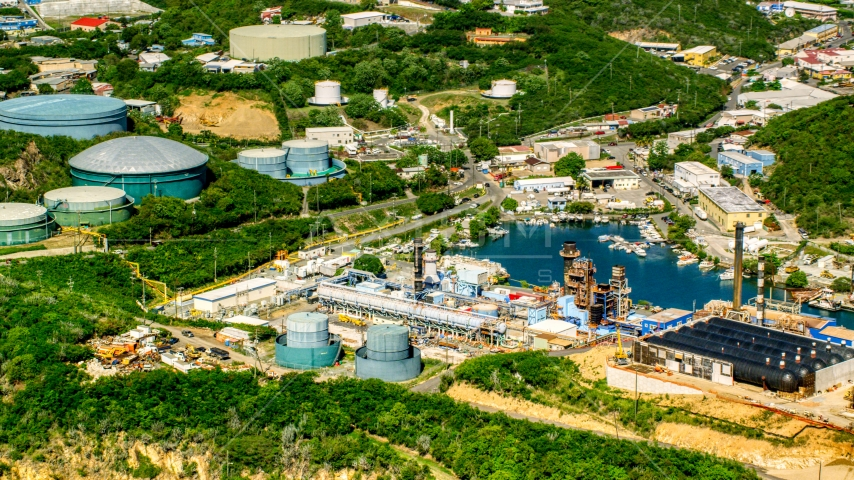 Waterfront desalinization plant in Charlotte Amalie, St. Thomas, US Virgin Islands  Aerial Stock Photos | AX102_198.0000000F