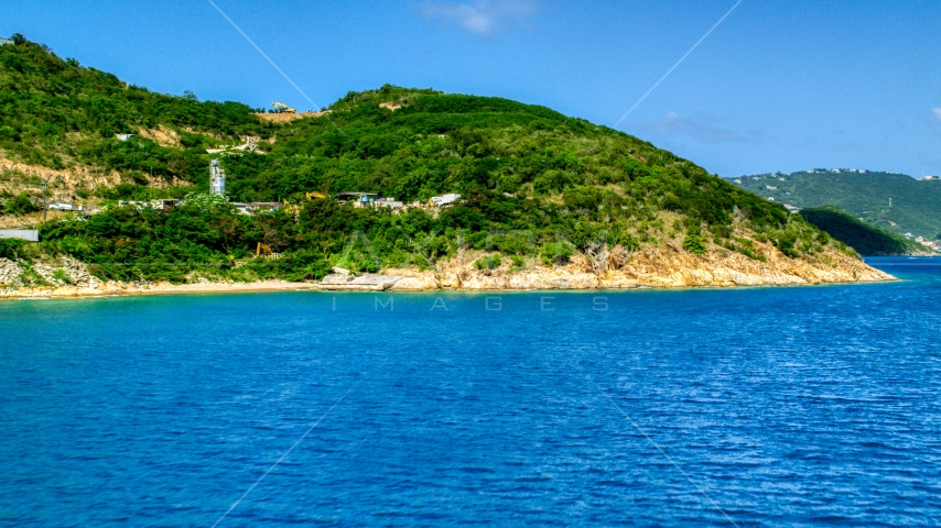 The hilly island coast of Charlotte Amalie, St. Thomas, US Virgin Islands Aerial Stock Photos | AX102_201.0000000F