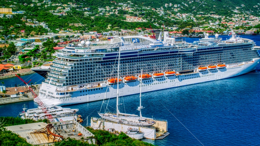 Cruise ship docked in Charlotte Amalie, St. Thomas, US Virgin Islands Aerial Stock Photos | AX102_202.0000435F