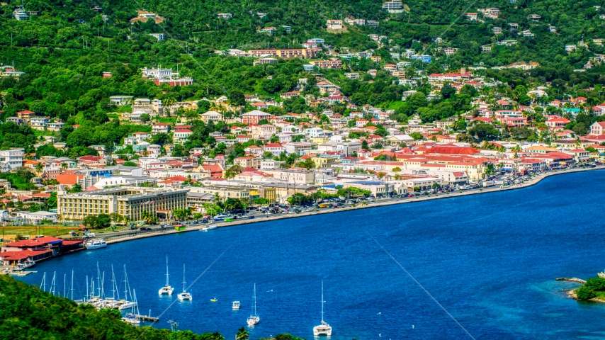 The seaside Caribbean island town of Charlotte Amalie, St. Thomas, US Virgin Islands  Aerial Stock Photo AX102_205.0000000F | Axiom Images