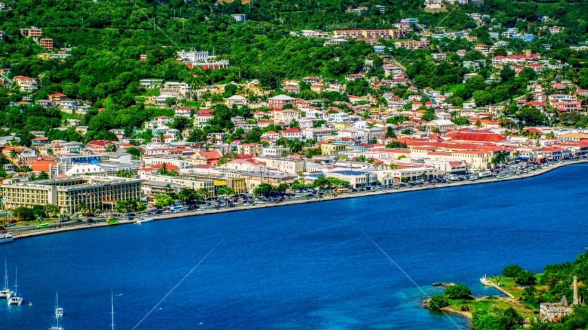 The Caribbean island town of Charlotte Amalie, St. Thomas  Aerial Stock Photo AX102_205.0000209F | Axiom Images