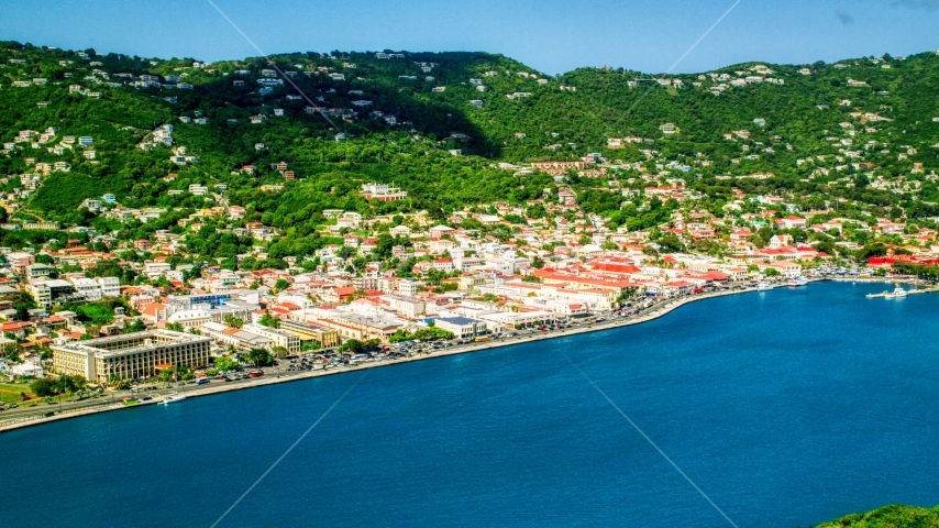 Caribbean town and hillsides by sapphire waters, Charlotte Amalie, St. Thomas Aerial Stock Photo AX102_207.0000000F | Axiom Images