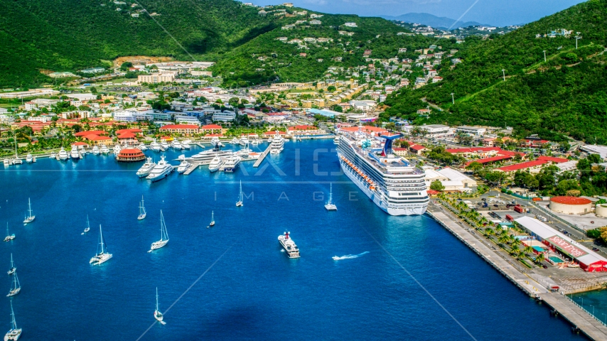Cruise ship and yachts docked at the coastal town of Charlotte Amalie, St. Thomas, US Virgin Islands Aerial Stock Photos | AX102_209.0000086F