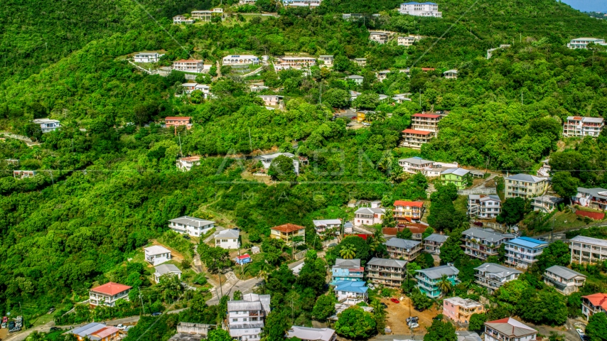 Upscale hillside homes nestled among trees, Charlotte Amalie, St. Thomas  Aerial Stock Photos | AX102_212.0000000F
