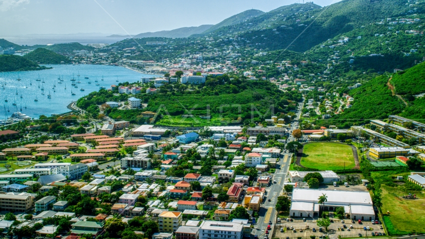 View across the Caribbean island town of Charlotte Amalie, St. Thomas  Aerial Stock Photo AX102_213.0000000F | Axiom Images