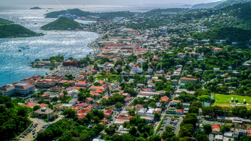 View of the harbor and the Caribbean island town of Charlotte Amalie, St. Thomas, US Virgin Islands Aerial Stock Photo AX102_215.0000000F | Axiom Images