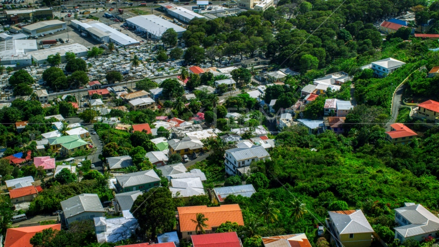 Hillside homes among trees in Charlotte Amalie, St Thomas, US Virgin Islands  Aerial Stock Photos | AX102_218.0000149F