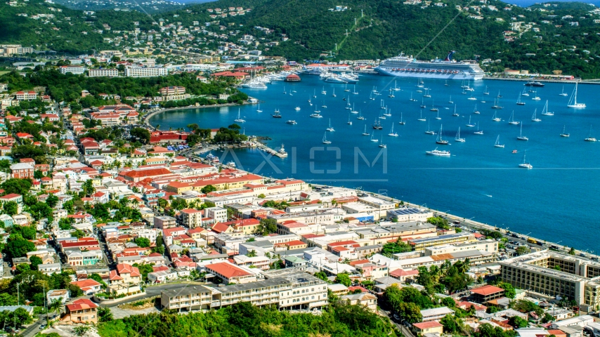 Sailboats in the harbor beside the Caribbean island town of Charlotte Amalie, St Thomas  Aerial Stock Photos | AX102_220.0000000F