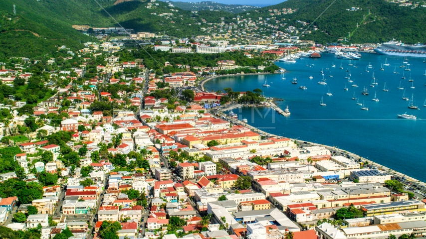 The seaside island town of Charlotte Amalie, St Thomas, US Virgin Islands Aerial Stock Photos | AX102_221.0000025F
