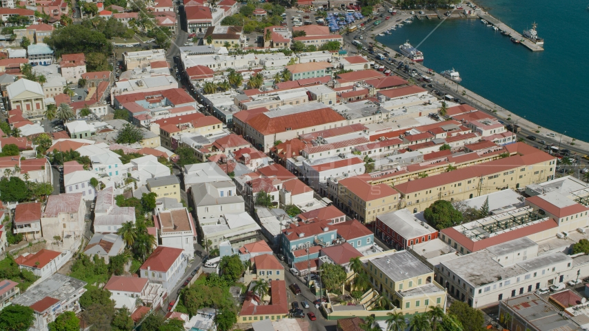 Island town buildings by the harbor in Charlotte Amalie, St Thomas, the US Virgin Islands Aerial Stock Photos | AX102_223.0000000F