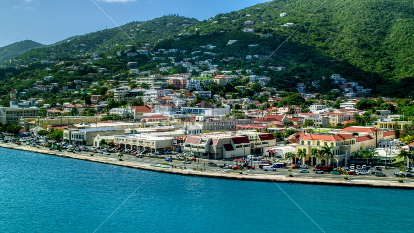 Island town and hills near the shore in Charlotte Amalie, St Thomas  Aerial Stock Photo AX102_226.0000178F | Axiom Images