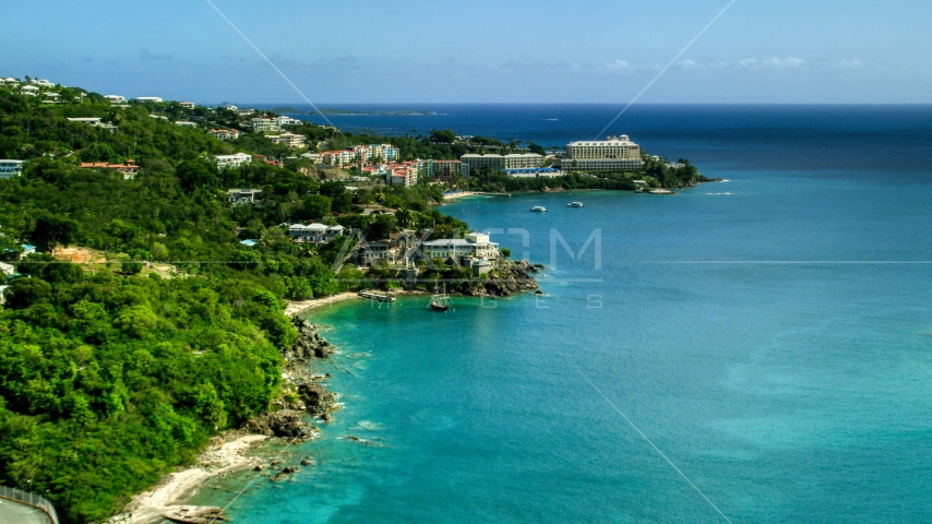 Marriott's Frenchman's Cove at the end of an island peninsula in St Thomas, US Virgin Islands  Aerial Stock Photos | AX102_231.0000000F