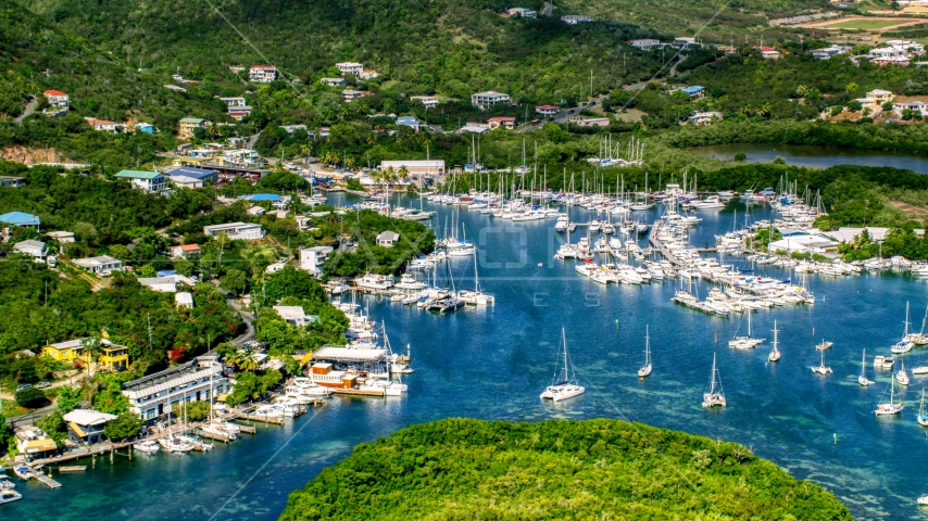 Boats in an island marina, Benner Bay, St Thomas Aerial Stock Photos | AX102_239.0000000F