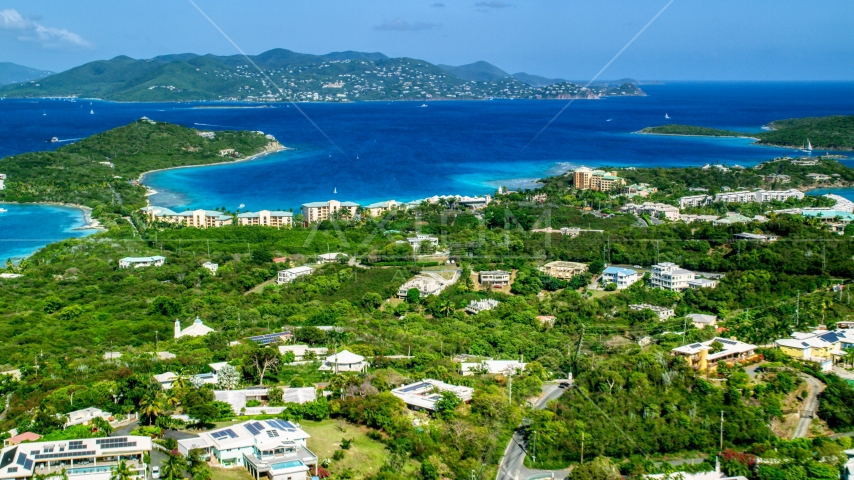 The Ritz-Carlton resort overlooking Turquoise Bay, St Thomas, the US Virgin Islands  Aerial Stock Photo AX102_242.0000000F | Axiom Images