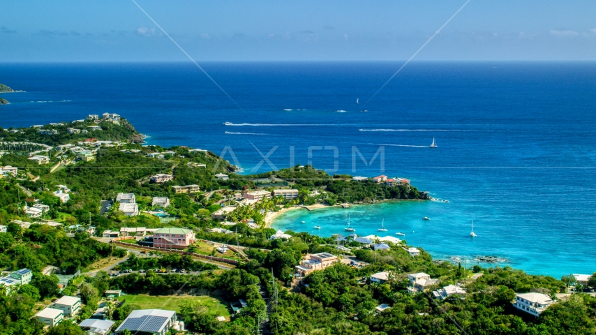 Secret Harbor Beach Resort overlooking turquoise Caribbean waters, St Thomas, US Virgin Islands Aerial Stock Photos | AX102_245.0000000F