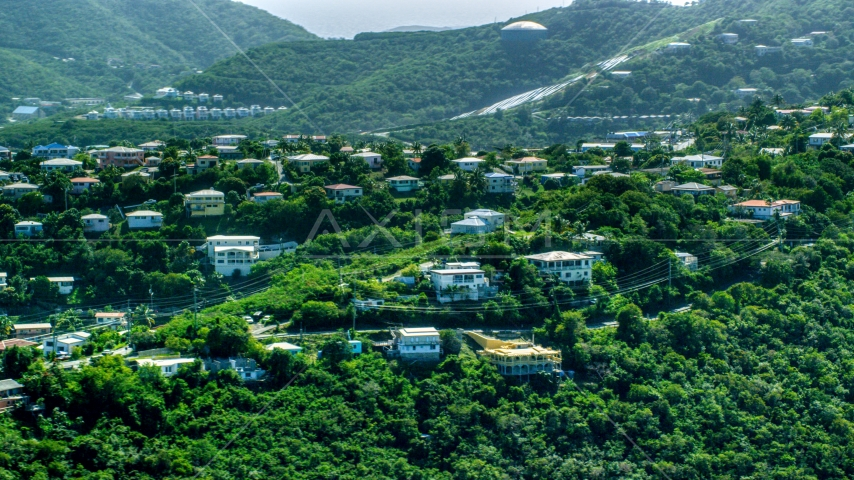 Hilltop homes and trees, East End, St Thomas, the US Virgin Islands  Aerial Stock Photo AX102_260.0000159F | Axiom Images