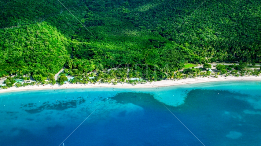 White sand Caribbean beach and turquoise blue waters, Magens Bay, St Thomas Aerial Stock Photos | AX102_269.0000000F