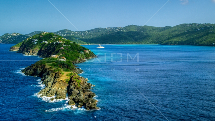 Picara Point and the crystal blue water in Magens Bay, St Thomas, USVI Aerial Stock Photo AX102_279.0000282F | Axiom Images