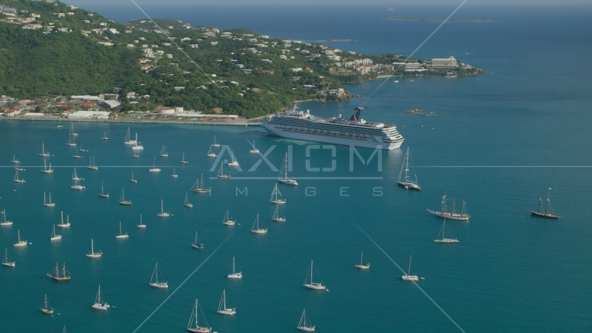 Cruise ship and sailboats in turquoise blue Caribbean waters, Charlotte Amalie, St Thomas Aerial Stock Photos | AX103_005.0000000F