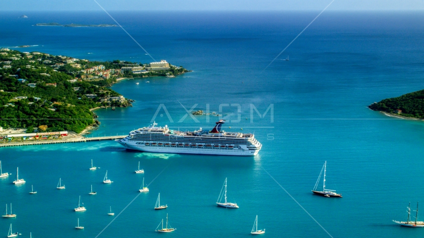 Cruise ship near sailboats in turquoise blue Caribbean waters, Charlotte Amalie, St Thomas Aerial Stock Photos | AX103_005.0000260F
