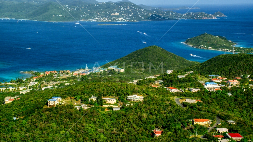 Caribbean resorts beside sapphire blue waters, East End, St Thomas Aerial Stock Photos | AX103_013.0000034F