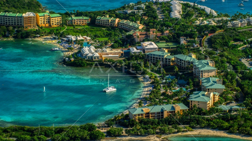 The Ritz-Carlton and turquoise blue Caribbean waters, St Thomas Aerial Stock Photos | AX103_015.0000319F