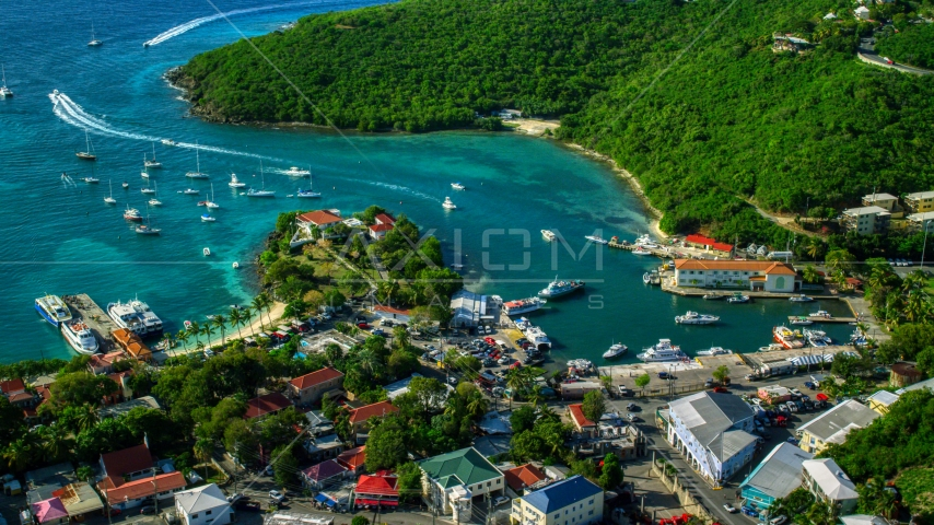 Harbor with boats in turquoise blue Caribbean waters, Cruz Bay, St John Aerial Stock Photos | AX103_021.0000197F