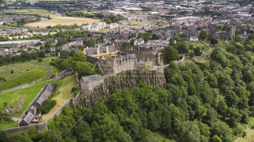 The grounds of historic Stirling Castle, Scotland Aerial Stock Photos | AX109_025.0000000F