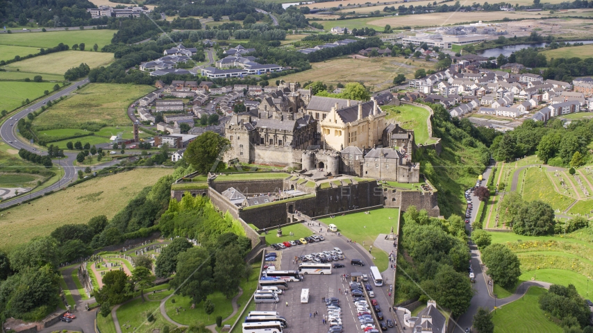 Iconic Stirling Castle in Scotland Aerial Stock Photos | AX109_035.0000000F