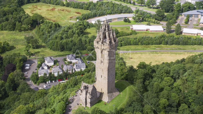 The iconic Wallace Monument in Stirling, Scotland Aerial Stock Photos | AX109_050.0000000F