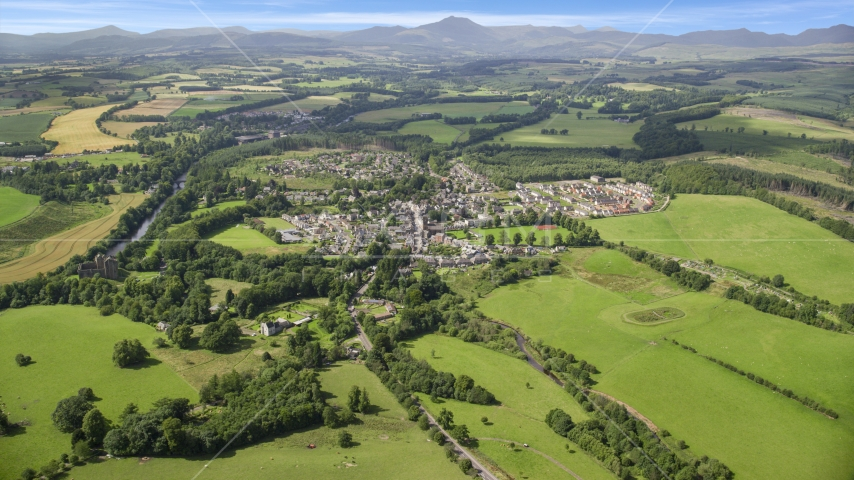 A rural village and green farmland, Duane, Scotland Aerial Stock Photo AX109_065.0000194F | Axiom Images