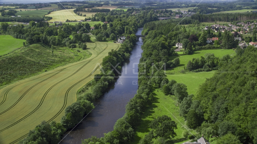 A bridge on River Teith lined with trees, Doune, Scotland Aerial Stock Photos | AX109_077.0000000F