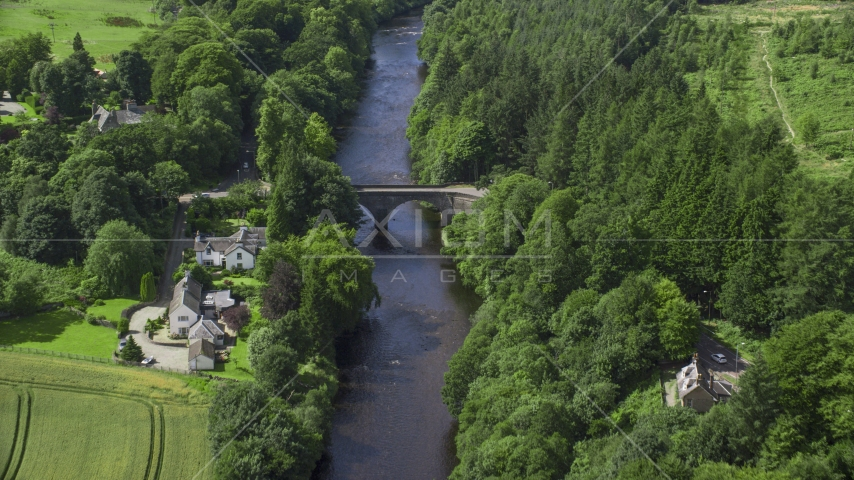 A bridge over River Teith among tree, Doune, Scotland Aerial Stock Photos | AX109_078.0000037F