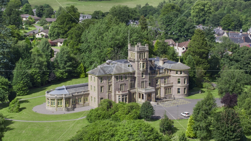 The front of Manor Hall Center for Trauma hospital, Doune Scotland Aerial Stock Photos | AX109_085.0000226F