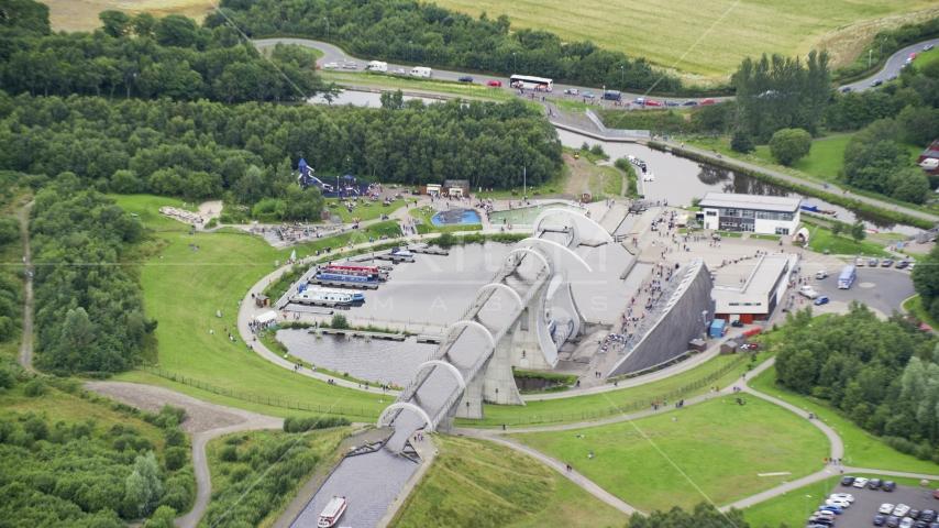 The iconic Falkirk Wheel boat lift, Scotland Aerial Stock Photos | AX109_162.0000089F